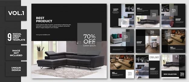 Furniture sale social media banner template