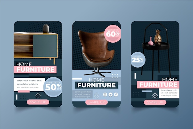 Furniture sale social media stories set with photo