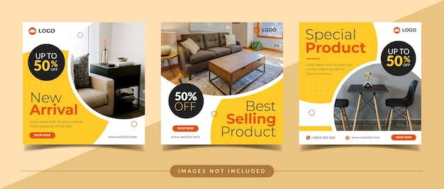 Furniture sale square banner for social media post and digital marketing