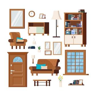 Furniture set for cozy hallway living room interior items