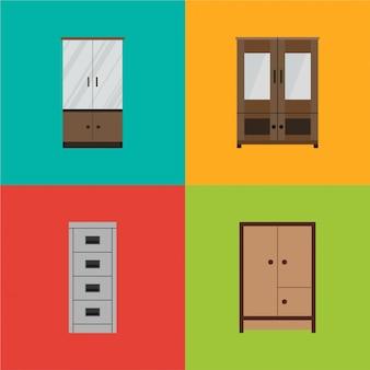 家具セット、食器棚 Premiumベクター