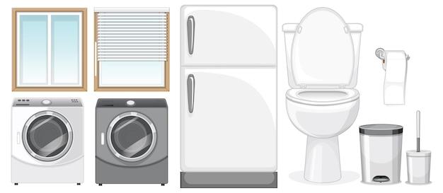 白い背景のインテリアデザインの家具セット