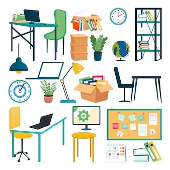 オフィス用家具セット、ベクトルイラスト。部屋のインテリアデザイン、作業テーブル、モダンなランプ、ラップトップ、植木鉢のための白い要素で隔離。