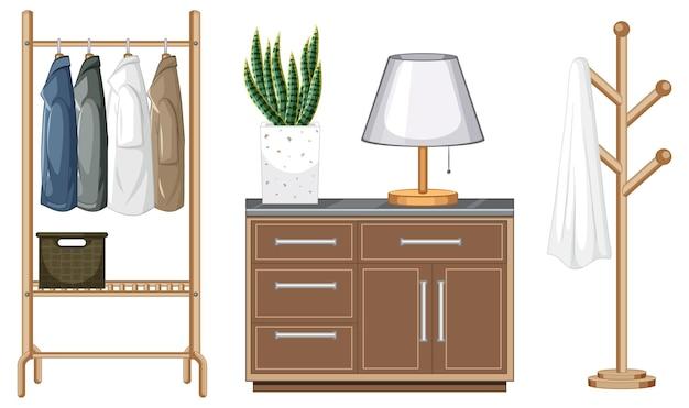 白い背景の上のウォークインクローゼットのインテリアデザインの家具セット
