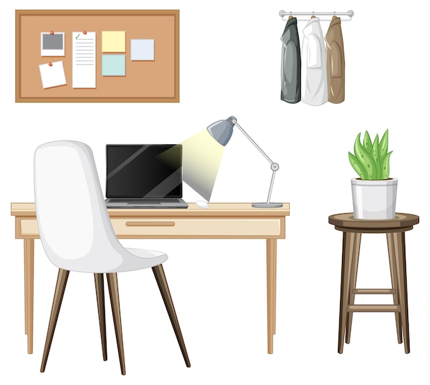 白い背景の上のワークスペースのインテリアデザインの家具セット