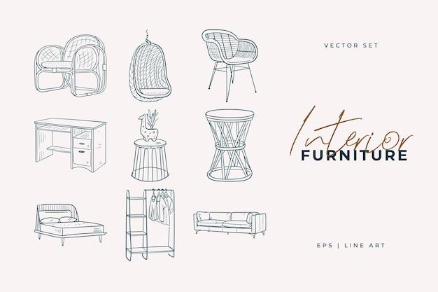 Мебельный гарнитур. рисование линии домашнего декора