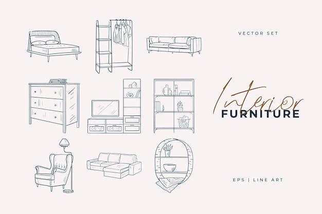 Мебельный гарнитур. рисование линии домашнего декора Premium векторы