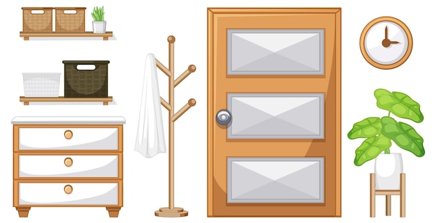 Furniture set for interior design on white background