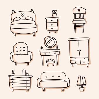 Комплект мебели значка. рука рисовать