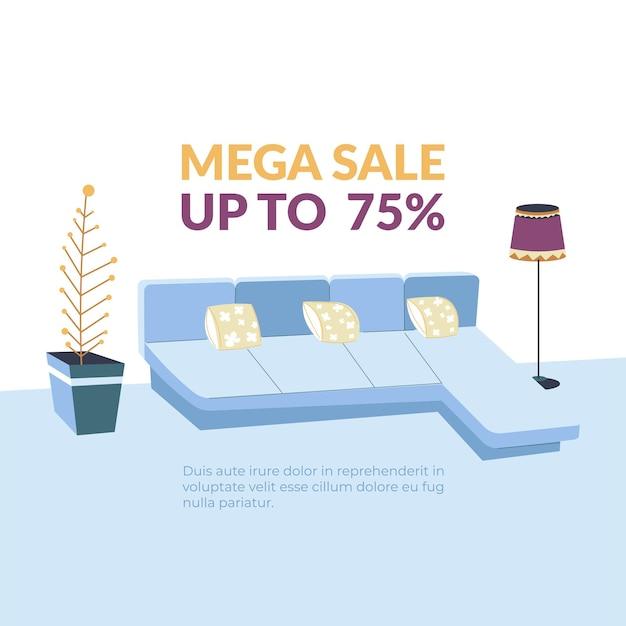 Furniture shop mega sale up to  promo banner
