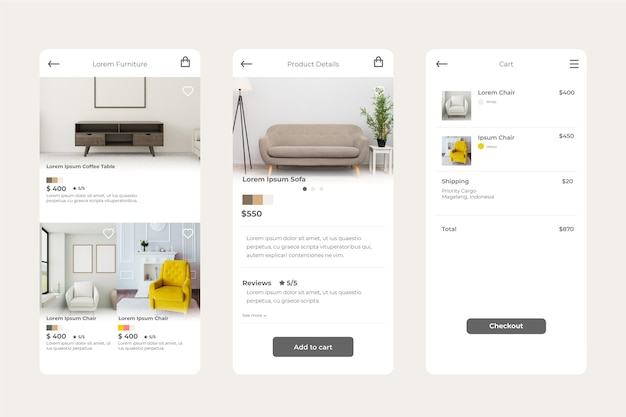 家具ショッピングアプリのコンセプト