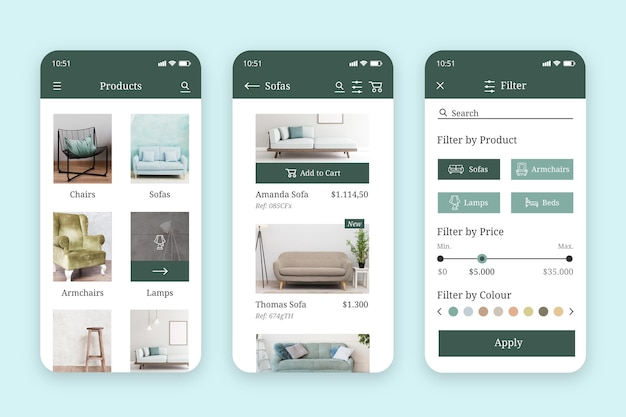 Furniture shopping app interface