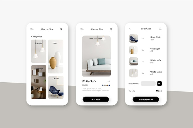 Interfaccia dell'app per lo shopping di mobili