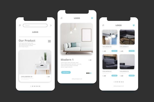 家具ショッピングアプリの画面