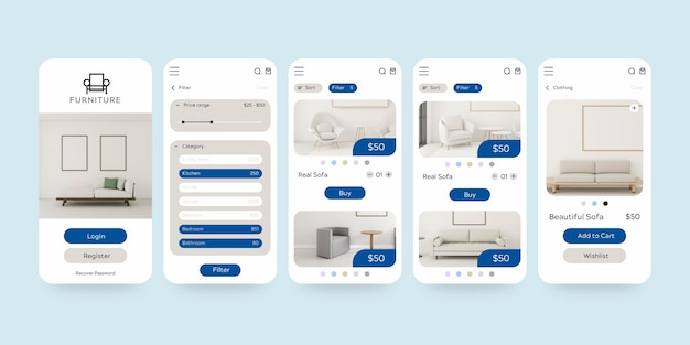 Set di modelli di app per lo shopping di mobili