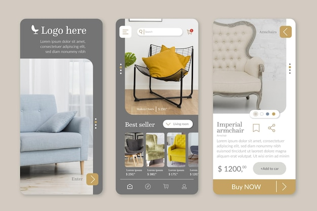 Furniture shopping app template with photos