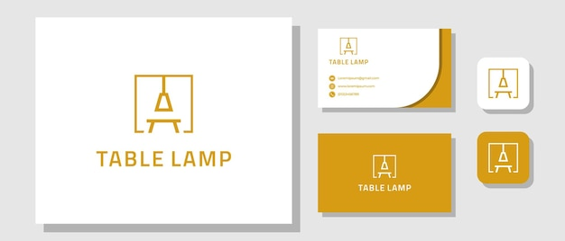 Furniture simple table lamp logo design with brand identity layout