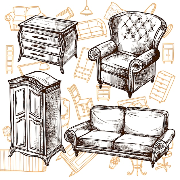 Furniture Sketch Seamless Concept