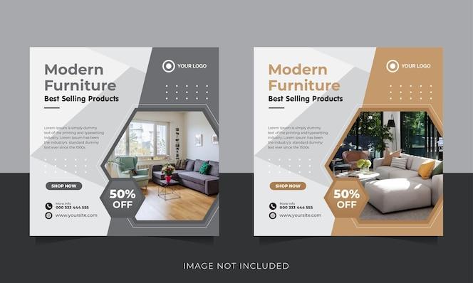мебель в социальных сетях и шаблон поста в instagram