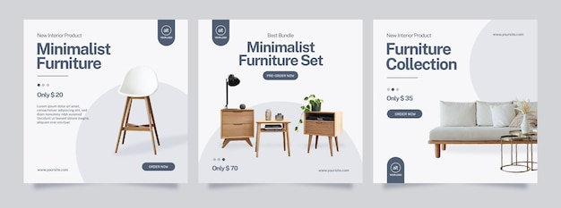 Furniture social media banner minimalist and instagram post template