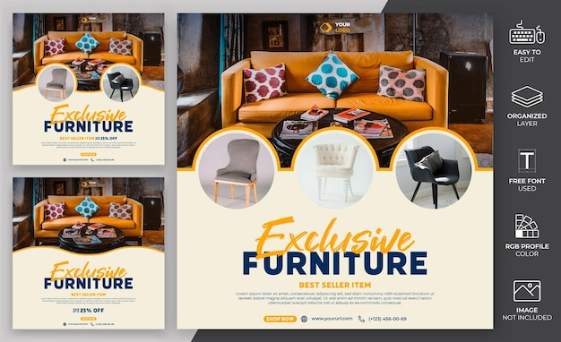 Furniture social media post template  design. digital marketing social media template can be use for promotion