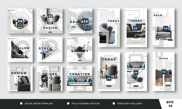 Коллекция постов в социальных сетях о мебели премиум