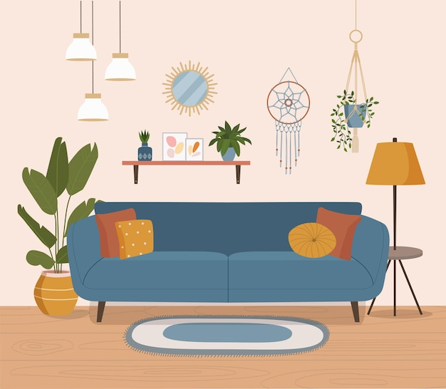 Furniture sofa bookcase painting plants the interior of the living roomvector illustration