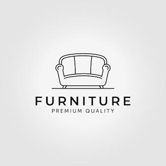 Furniture of sofa logo line art vector illustration design