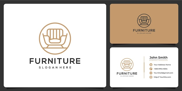 Furniture sofa monoline luxury logo and business card