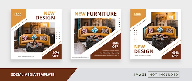 Furniture square social media promotion templates