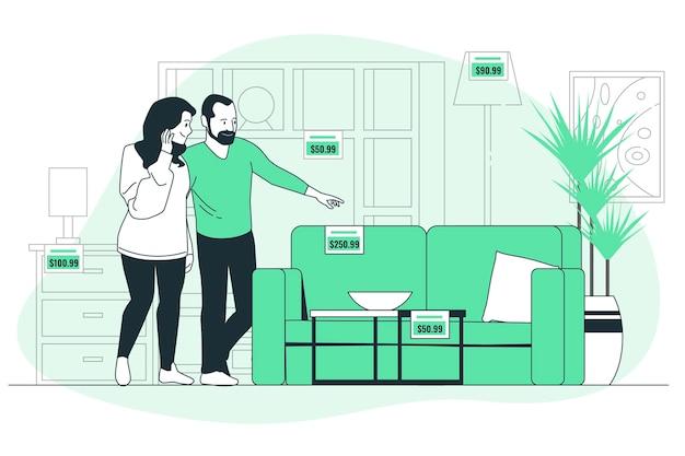 Иллюстрация концепции мебельного магазина