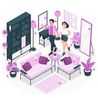 家具店のコンセプトイラスト 無料ベクター