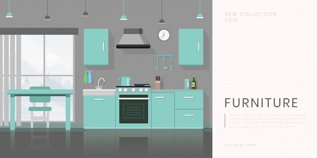 Furniture store flat banner  template