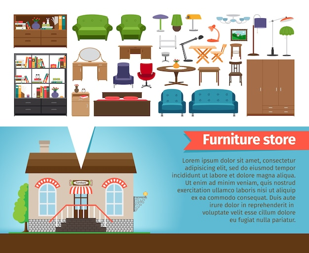 Furniture store set. interior design home, shop for room and house, chair and table, shelf chandeliers and lamp.