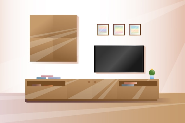 Furniture under the tv. furniture in a  style. interior  illustration