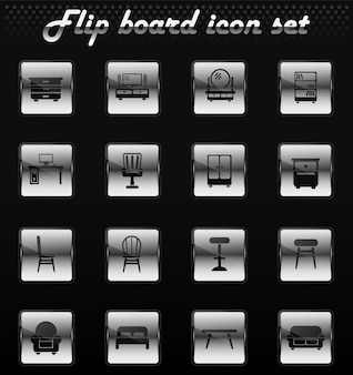 Furniture vector flip mechanical icons for user interface design