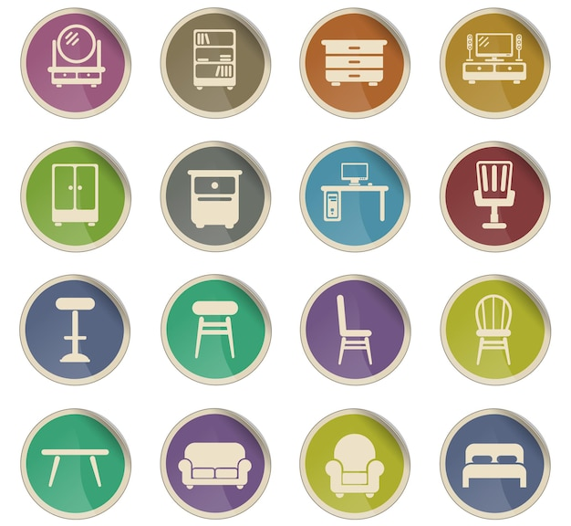 Furniture vector icons in the form of round paper labels