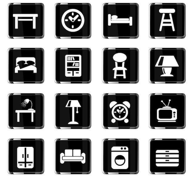 Мебель веб-иконки для дизайна пользовательского интерфейса