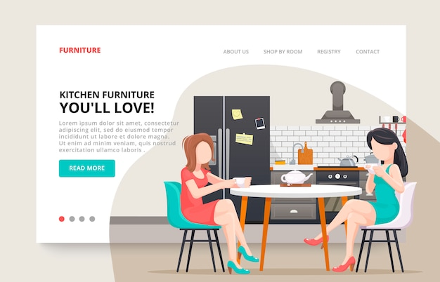 Furniture website. girls characters friends concept. kitchen modern design business template. kitchen interior with furniture. illustration slide for furniture website.