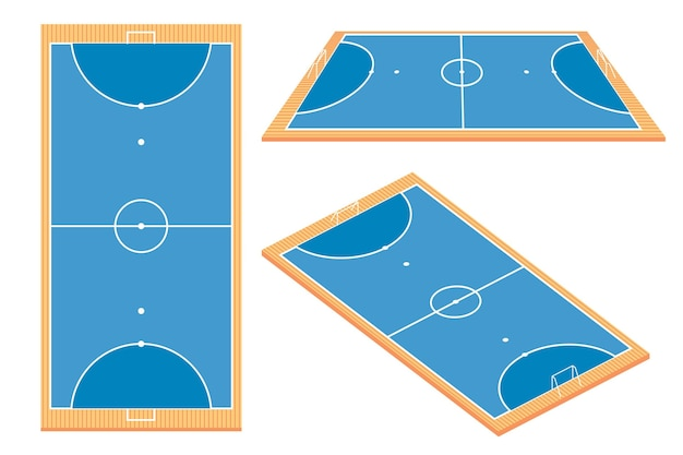 Futsal field in different perspectives