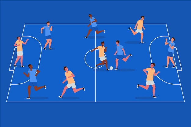 Futsal field with players illustration