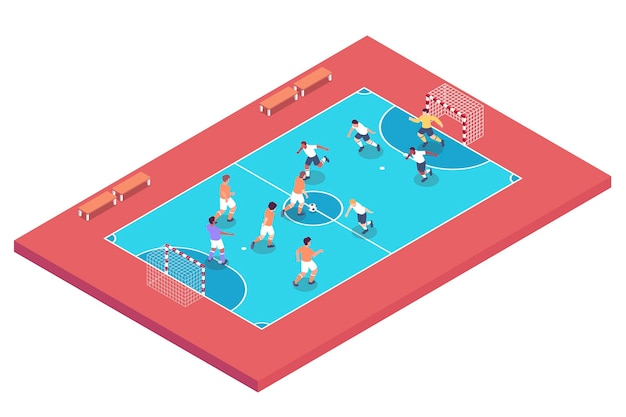 Futsal field with players