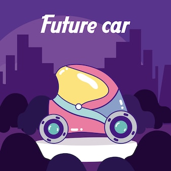 Future car over cityscape silhouette