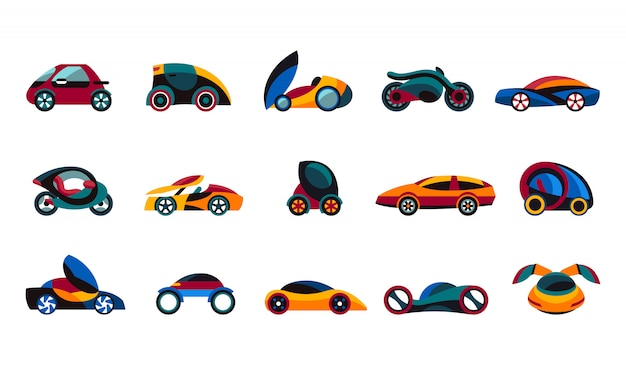 Future car concept icons collection