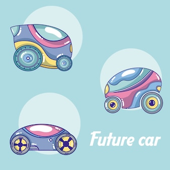Future cars in round icons cartoons
