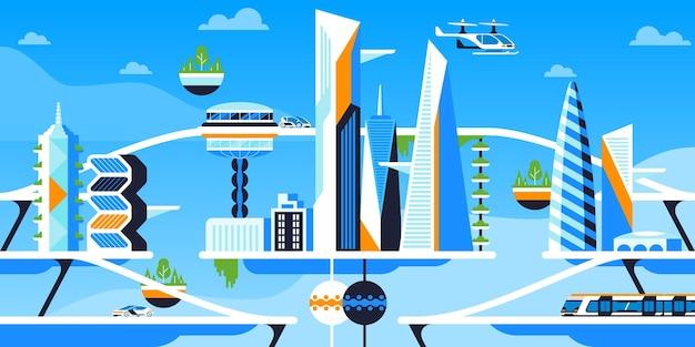 미래 도시 파노라마 평면 벡터 일러스트 레이 션. 지속 가능한 대도시, 미래 지향적인 도시 건축 및 친환경 차량. 첨단 운송, 전기 자동차, 비행 드론 및 쾌속 열차