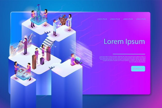 Future digital services for work vector web banner