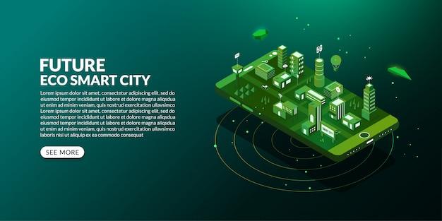 アイソメトリックデザインで接続された大都市のある未来のエコスマートシティ