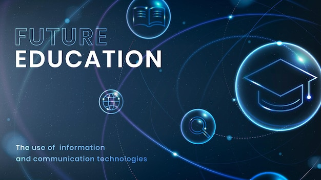 Future education technology template vector ad banner