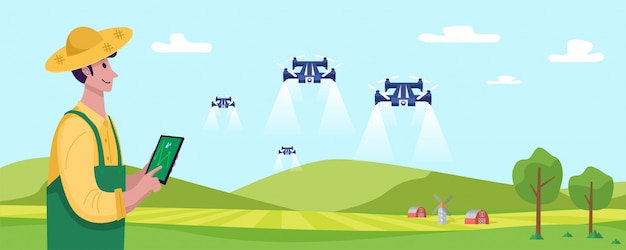 Future of farming, young farmer operating drone to spray fertilizer on the green field,   illustration
